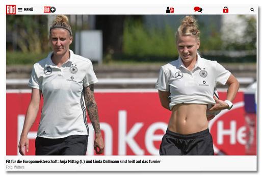 Ausriss von Bild.de - Fit für die Europameisterschaft: Anja Mittag (l.) und Linda Dallmann sind heiß auf das Turnier