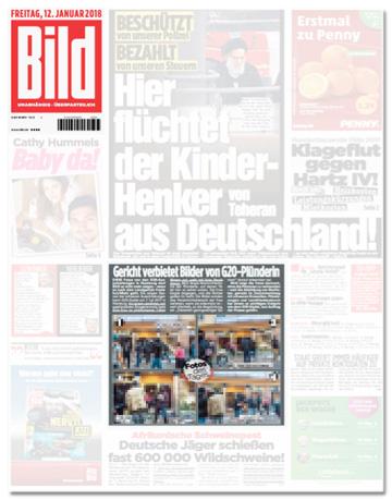 Ausriss Bild-Titelseite mit Artikel Gericht verbietet Bilder von G20-Plünderin