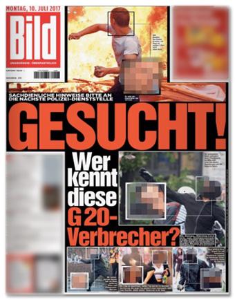 Ausriss Bild-Titelseite - Gesucht! Wer kennt diese G20-Verbrecher?