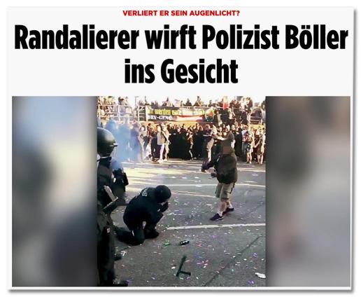 Verliert er sein Augenlicht? - Randalierer wirft Polizist Böller ins Gesicht [inkl. Foto]