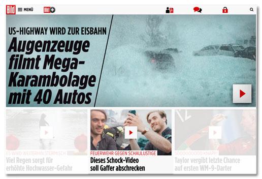 Screenshot von der Bild.de-Startseite, der die zwei Video übereinander zeigt