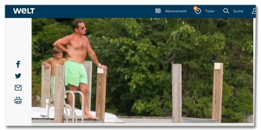 Screenshot Welt.de - Nicolas Sarkozy in Badehosen