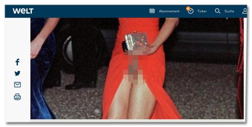 Screenshot Welt.de - Foto mit hochgerutschtem Kleid, sodass man den Slip sehen kann