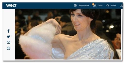 Screenshot Welt.de - Foto mit runtergerutschtem Kleid, sodass man eine Brust sehen kann