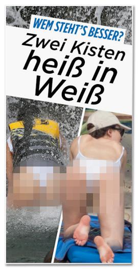 Screenshot Bild.de - Zwei Kisten heiß in Weiß - Dazu zwei Fotos, das die Hintern von zwei Frauen zeigt