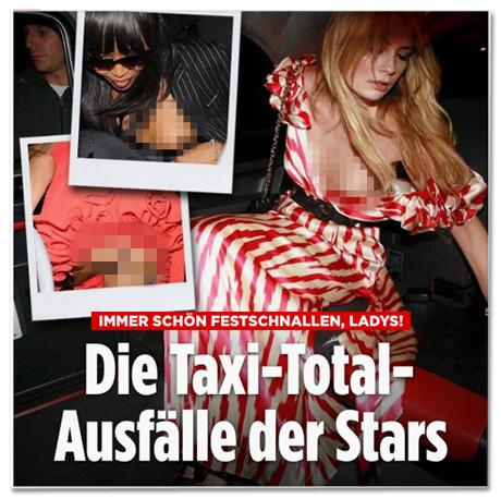 Screenshot Bild.de - Die Taxi-Total-Ausfälle der Stars - Dazu Fotos von Frauen, denen Brüste aus dem Kleid gerutscht sind