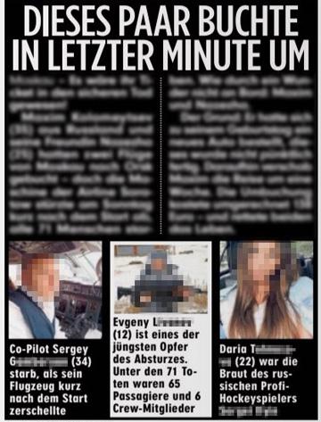 Ausriss Bild-Zeitung - Dieses Paar buchte um - dazu drei Fotos von bei einem Flugzeugabsturz gestorbenen Menschen, darunter ein Zwölfjähriger
