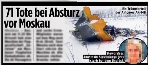 Ausriss Bild-Zeitung - 71 Tote bei Absturz vor Moskau - dazu ein Foto einer bei dem Absturz gestorbenen Frau
