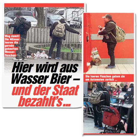 Ausriss Bild-Zeitung - Hier wird aus Wasser Bier - und der Staat bezahlt es - dazu Fotos des Mannes, der das Wasser wegkippt und Bier kauft