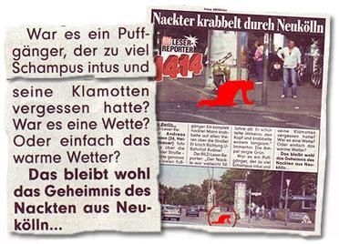 Ausriss Bild-Zeitung - Nackter krabbelt durch Neukölln - Was es ein Puffgänger, der zu viel Schampus intus hatte?