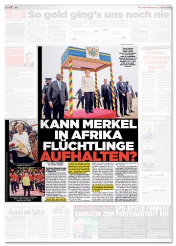 Ausriss Bild-Zeitung - Kann Merkel in Afrika Flüchtlinge aufhalten?