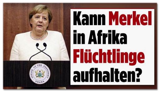 Screenshot Bild.de - Kann Merkel in Afrika Flüchtlinge aufhalten?