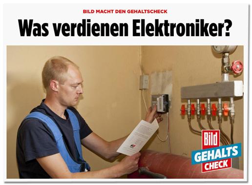 Screenshot Bild.de - Überschrift Was verdienen Elektroniker und darunter ein Foto eines Heizungs- und Sanitärtechnikers