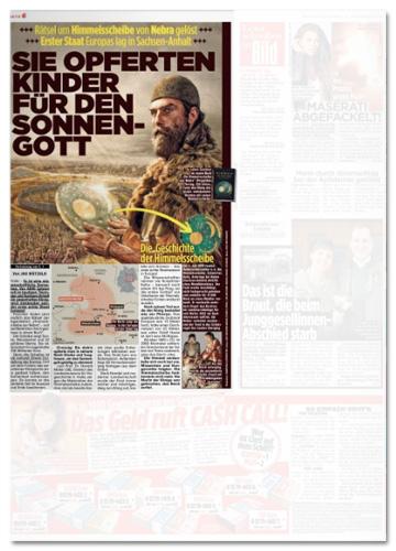 Ausriss Bild-Zeitung - Sie opferten Kinder für den Sonnengott - dazu dieselbe Illustration wie auf dem Geo-Cover