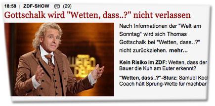 """Gottschalk wird """"Wetten, dass..?"""" nicht verlassen. Nach Informationen der """"Welt am Sonntag"""" wird sich Thomas Gottschalk bei """"Wetten, dass..?"""" nicht zurückziehen."""