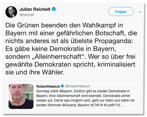 Screenshot eines Tweets von Julian Reichelt - Die Grünen beenden den Wahlkampf in Bayern mit einer gefährlichen Botschaft, die nichts anderes ist als übelste Propaganda: Es gäbe keine Demokratie in Bayern, sondern Alleinherrschaft. Wer so über frei gewählte Demokraten spricht, kriminalisiert sie und ihre Wähler.