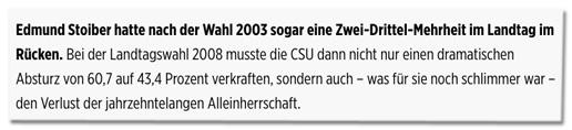Screenshot Bild.de - Bei der Landtagswahl 2008 musste die CSU dann nicht nur einen dramatischen Absturz von 60,7 auf 43,4 Prozent verkraften, sondern auch, was für sie noch schlimmer war, den Verlust der jahrzehntelangen Alleinherrschaft.
