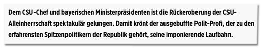 Screenshot Bild.de - Dem CSU-Chef und bayerischen Ministerpräsidenten ist die Rückeroberung der CSU-Alleinherrschaft spektakulär gelungen.
