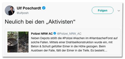 Screenshot eines Tweets von Welt-Chef Ulf Poschardt, der zum Tweet der Polizei Aachen schreibt: Neulich bei den Aktivisten - das Wort Aktivisten hat Poschardt in Anführungszeichen gesetzt