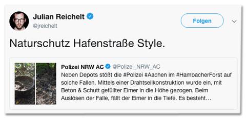 Screenshot eines Tweets von Bild-Chef Julian Reichelt, der zum Tweet der Polizei Aachen schreibt: Naturschutz Hafenstraße Style.