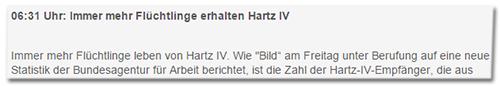 Immer mehr Flüchtlinge erhalten Hartz IV