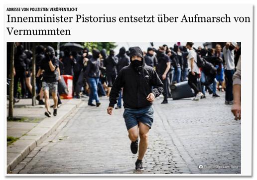 Screenshot shz.de - Innenminister Pistorius entsetzt über Aufmarsch von Vermummten - dazu ein Foto mit vielen Vermummten, im Hintergrund eine auf dem Boden liegende Mülltonne