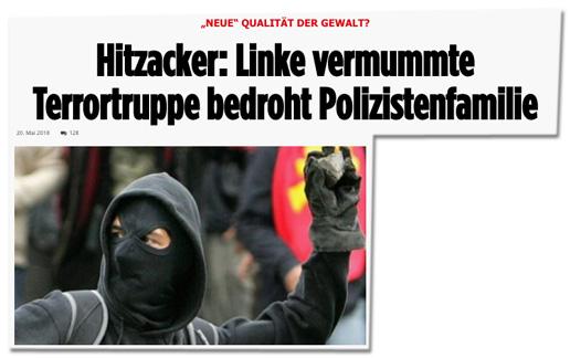 Screenshot Politically Incorrect - Hitzacker: Linke vermummte Terrorgruppe bedroht Polizistenfamilie - dazu ein Foto eines Steine werfenden Vermummten