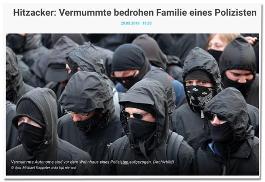 Screenshot RTL.de - Hitzacker: Vermummte bedrohen Familie eines Polizisten - dazu ein Foto mehrere Vermummter bei einem Aufmarsch