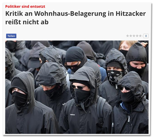 Screenshot Focus Online - Kritik an Wohnhaus-Belagerung reißt nicht ab - dazu ein Foto mehrere Vermummter bei einem Aufmarsch