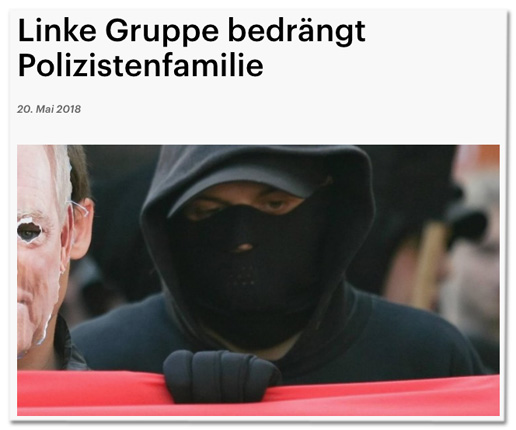 Screenshot Deutschlandfunk - Linke Gruppe bedrängt Polizistenfamilie - dazu ein Foto eines Vermummten bei einem Aufmarsch