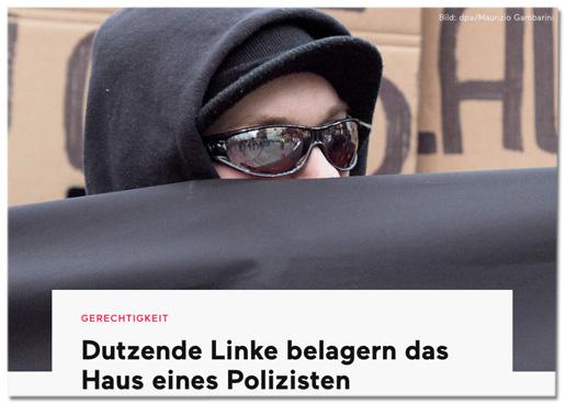 Screenshot Deutschlandfunk - Dutzende Linke belagern das Haus eines Polizisten - dazu ein Foto eines Vermummten bei einem Aufmarsch