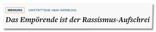 Screenshot Welt.de - Das Empörende ist der Rassismus-Aufschrei