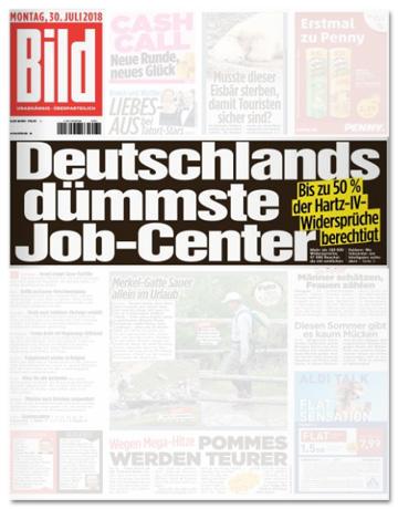 Ausriss Bild-Titelseite - Deutschlands dümmste Job-Center