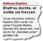Anthony Hopkins: Ehefrau dachte, er wollte sie fressen