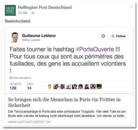 Facebook-Post der Huffington Post Deutschland: Beeindruckend. - So bringen sich die Menschen in Paris via Twitter in Sicherheit