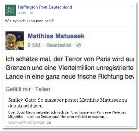 Facebook-Post der Huffington Post Deutschland: Wie zynisch kann man sein? - Smiley-Gate: So makaber postet Matthias Matussek zu den Anschlägen