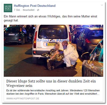Facebook-Post der Huffington Post Deutschland: Ein Mann erinnert sich an etwas Wichtiges, das ihm seine Mutter einst gesagt hat. - Dieser kluge Satz sollte uns in dieser dunklen Zeit ein Wegweiser sein