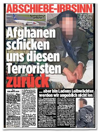 Ausriss Bild-Zeitung - Abschiebe-Irrsinn - Afghanen schicken uns diesen Terroristen zurück - aber bin Ladens Leibwächter werden wir angeblich nicht los