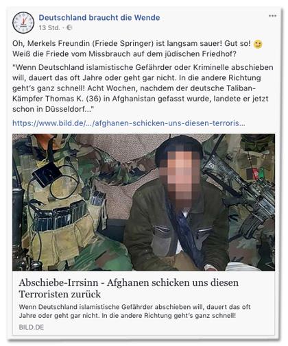 Screenshot eines Posts der Facebook-Seite Deutschland braucht die Wende mit Link zum Bild.de-Artikel