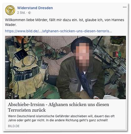 Screenshot eines Posts der Facebook-Seite Widerstand Dresden mit Link zum Bild.de-Artikel