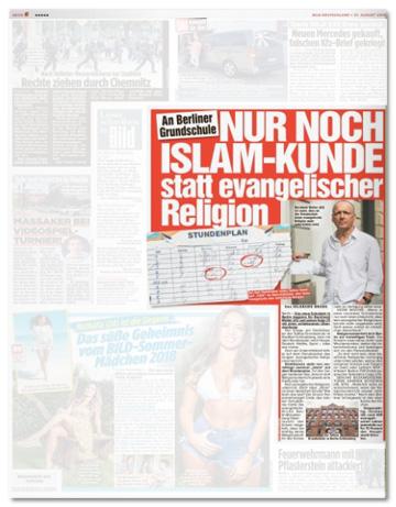 Ausriss Bild-Zeitung - An Berliner Grundschule - Nur noch Islam-Kunde statt evangelischer Religion