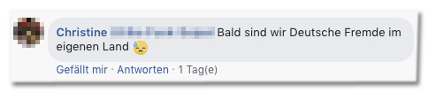 Screenshot eines Facebook-Kommentars - Bald sind wie Deutsche fremd im eigenen Land.