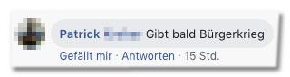 Screenshot eines Facebook-Kommentars - Gibt bald Bürgerkrieg
