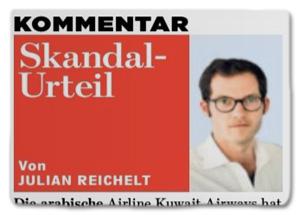 Ausriss Bild-Zeitung - Kommentar von Julian Reichelt - Skandal-Urteil