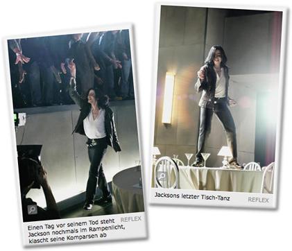Einen Tag vor seinem Tod steht Jackson nochmals im Rampenlicht, klatscht seine Komparsen ab. / Jacksons letzter Tisch-Tanz.