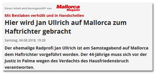 Dieser Inhalt wird bereitgestellt von Mallorca Magazin: Mit Bettlaken verhüllt und in Handschellen - Hier wird Jan Ullrich auf Mallorca zum Haftrichter gebracht