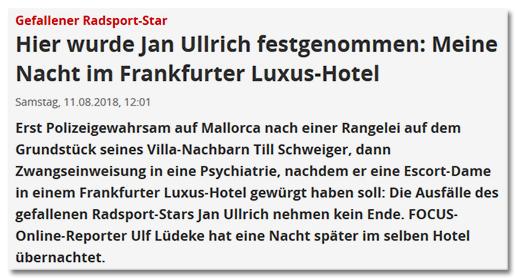 Gefallener Radsport-Star - Hier wurde Jan Ullrich festgenommen: Meine Nacht im Frankfurter Luxus-Hotel - Erst Polizeigewahrsam auf Mallorca nach einer Rangelei auf dem Grundstück seines Villa-Nachbarn Till Schweiger, dann Zwangseinweisung in eine Psychiatrie, nachdem er eine Escort-Dame in einem Frankfurter Luxus-Hotel gewürgt haben soll: Die Ausfälle des gefallenen Radsport-Stars Jan Ullrich nehmen kein Ende. FOCUS-Online-Reporter Ulf Lüdeke hat eine Nacht später im selben Hotel übernachtet.