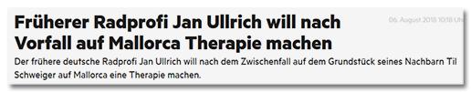Früherer Radprofi Jan Ullrich will nach Vorfall auf Mallorca Therapie machen