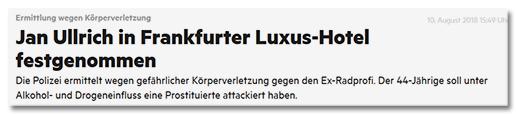 Jan Ullrich in Frankfurter Luxus-Hotel festgenommen