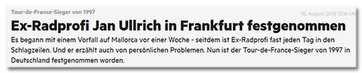 Ex-Radprofi Jan Ullrich in Frankfurt festgenommen